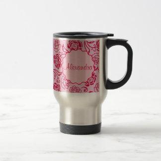 Floral lattice pattern of tea roses on pink name travel mug