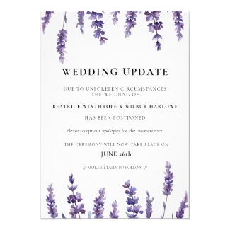 Floral lavender wedding update announcement