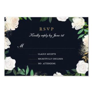 Floral Leaf Blush Navy Gold Wedding RSVP Card