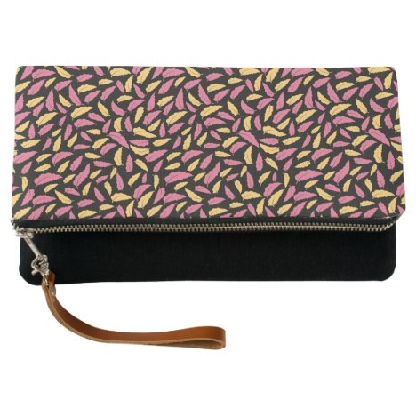 Floral Leaves In Pink And Yellow Clutch
