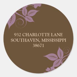 Floral & Leaves Return Address (brown/lilac) Round Sticker