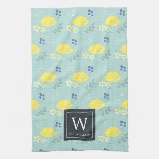 Fl Lemon Pattern Mint Green Kitchen Towel