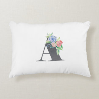 Floral Letter A Accent Pillow