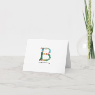Floral Letter Monogram Initial - B - Folded Card