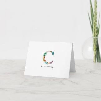 Floral Letter Monogram Initial - C - Folded Card