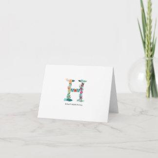 Floral Letter Monogram Initial - H - Folded Card