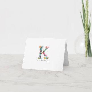 Floral Letter Monogram Initial - K - Folded Card