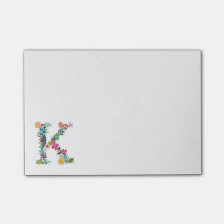 Floral Letter Monogram Initial - K - Post-it® Notes