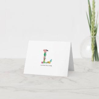 Floral Letter Monogram Initial - L - Folded Card