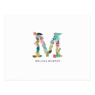 Floral Letter Monogram Initial - M - Flat Card