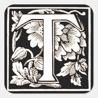 Floral Letter 'T' - Sticker
