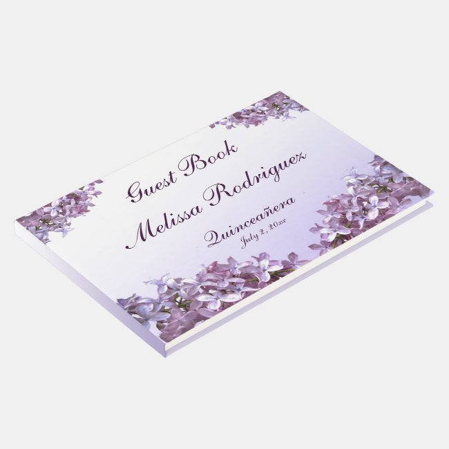Floral Lilac Flowers Quinceanera Guest Book
