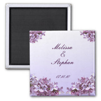 Floral Lilac Flowers Save the Date 2 Inch Square Magnet
