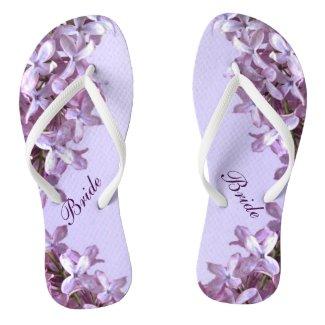 Floral Lilac Flowers Wedding Bridal Flip Flops