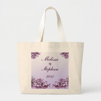 Floral Lilac Flowers Wedding Bride and Groom Jumbo Tote Bag