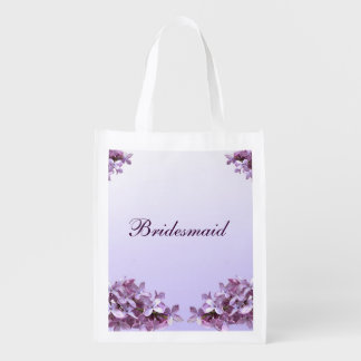 Floral Lilac Flowers Wedding Bridesmaid Reusable Grocery Bag