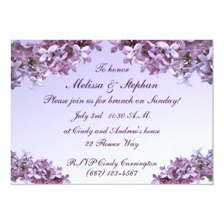 Floral Lilac Flowers Wedding Brunch 5x7 Paper Invitation Card
