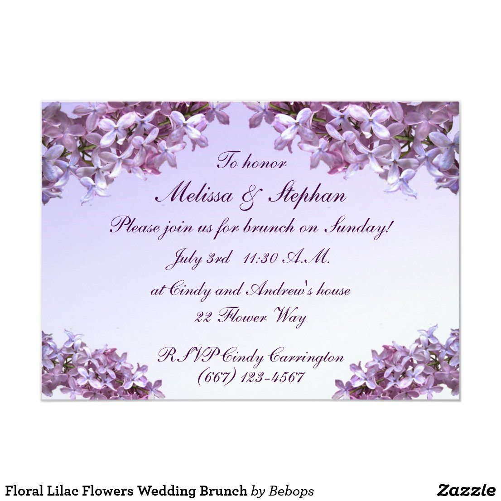 Floral Lilac Flowers Wedding Brunch Card