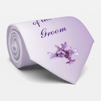 Floral Lilac Flowers Wedding Father of Groom Tie