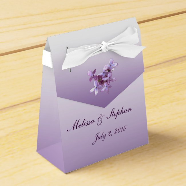 Floral Lilac Flowers Wedding Favor Box