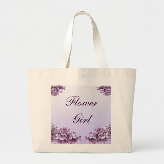 Floral Lilac Flowers Wedding Flower Girl Large Tote Bag