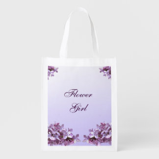 Floral Lilac Flowers Wedding Flower Girl Reusable Grocery Bag