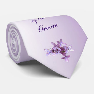 Floral Lilac Flowers Wedding Grandfather of Groom Neck Tie