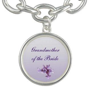 Floral Lilac Flowers Wedding Grandmother of Bride Bracelets