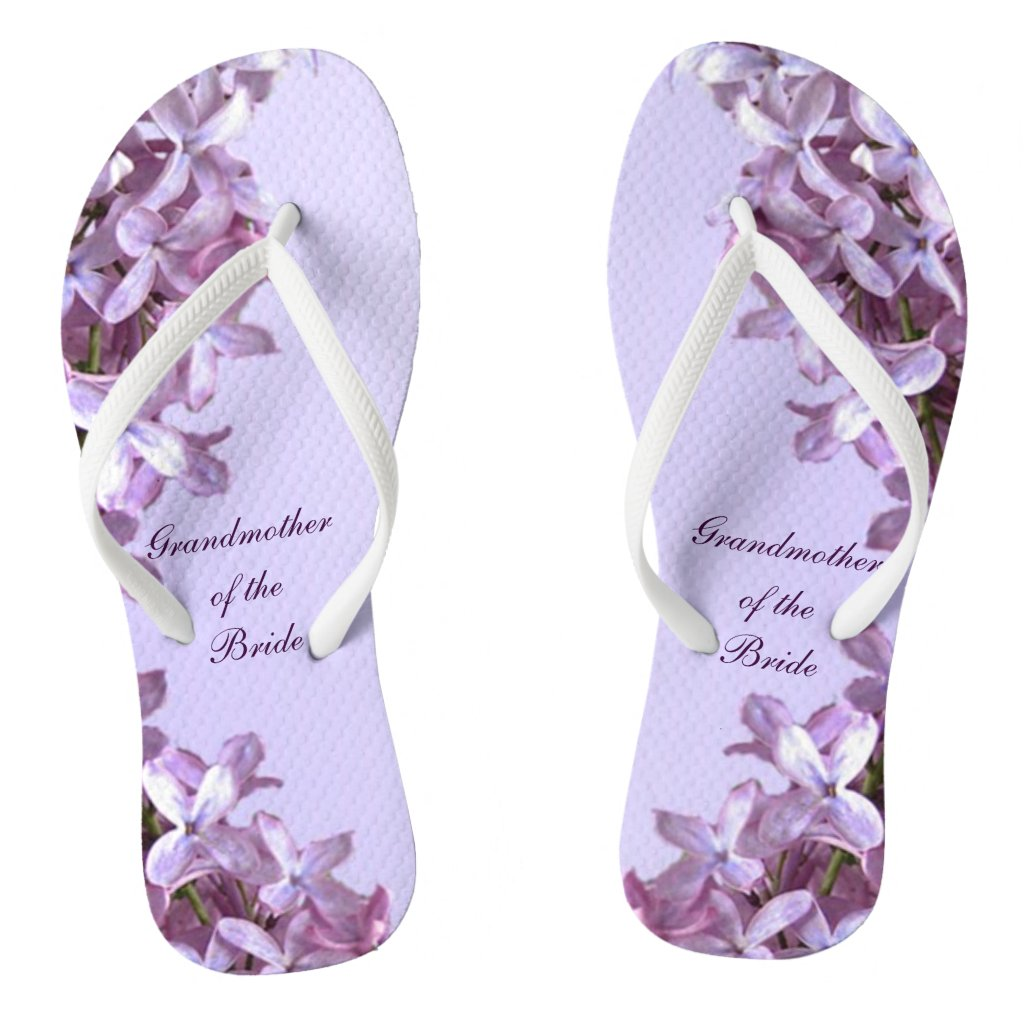 Floral Lilac Flowers Wedding Grandmother of Bride Flip Flops