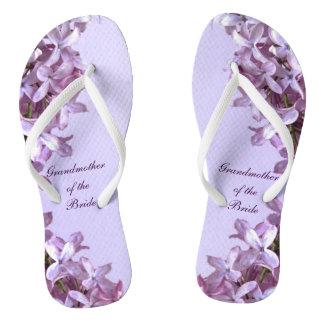 Floral Lilac Flowers Wedding Grandmother of Bride Flip Flops