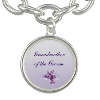 Floral Lilac Flowers Wedding Grandmother of Groom Charm Bracelet