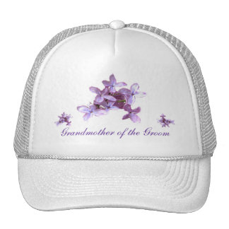 Floral Lilac Flowers Wedding Grandmother of Groom Trucker Hat