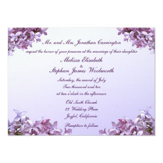 Floral Lilac Flowers Wedding 5.5x7.5 Paper Invitation Card