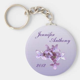 Floral Lilac Flowers Wedding Keychain