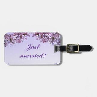 Floral Lilac Flowers Wedding Luggage Tag