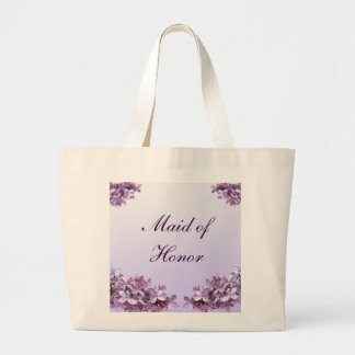 Floral Lilac Flowers Wedding Maid of Honor Large Tote Bag