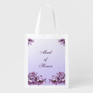 Floral Lilac Flowers Wedding Maid of Honor Reusable Grocery Bags