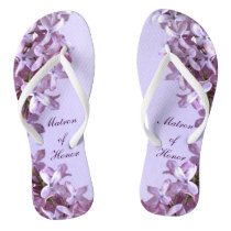 Floral Lilac Flowers Wedding Matron of Honor Flip Flops
