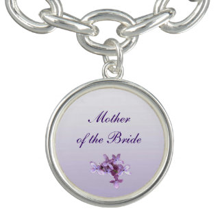 Floral Lilac Flowers Wedding Mother of the Bride Charm Bracelets