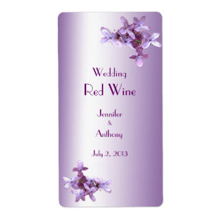 Floral Lilac Flowers Wedding Red Wine Label