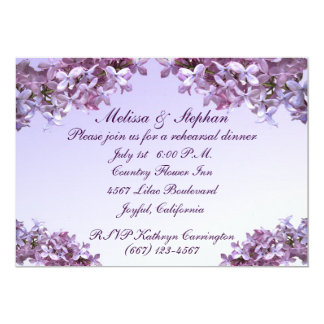 Floral Lilac Flowers Wedding Rehearsal Dinner Card