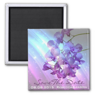 floral lilac purple orchid wedding save the date magnet