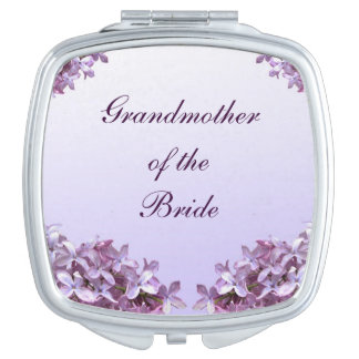 Floral Lilac Wedding Grandmother of Bride Mirror Compact Mirrors