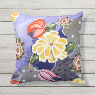 Floral Lilly Blue Abstract Polkadot Outdoor Pillow