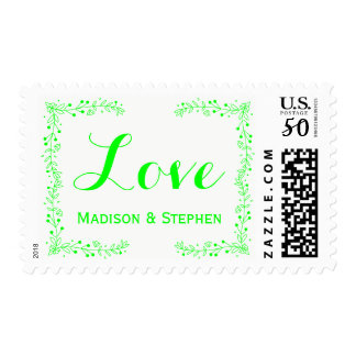 Floral Lime Green Love Flower Personalize Wedding Postage