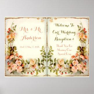 Floral lindo romántico póster