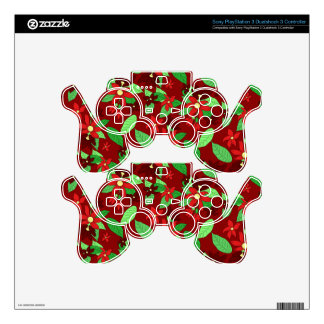 Floral line pattern in red decal for PS3 controller