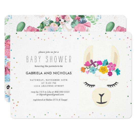 Floral Llama Baby Shower Invitation Zazzle Com