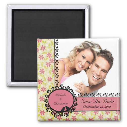 Floral Love Birds Photo Save The Date Magnet