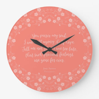Floral Love Letter Quote Persuasion Jane Austen Large Clock